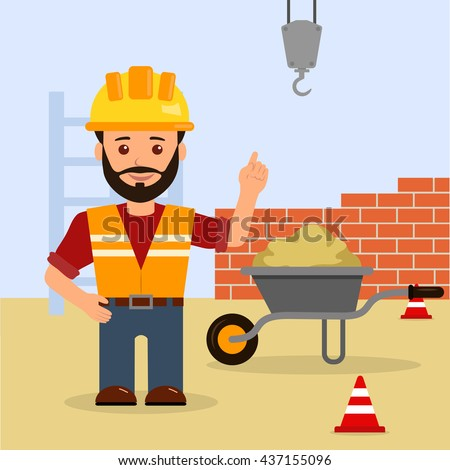 Man foreman at a construction site. Construction of the building. Cartoon vector illustration of a male builder warns of the danger on the construction site.