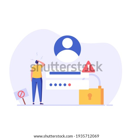 Man forgot the password. Concept of forgotten password, key, account access, blocked access. Vector illustration in flat design for web page, landing, web banner