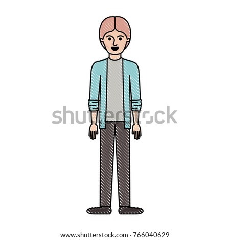 Man Full Body With Shirt And Jacket And Pants And Shoes With Middle