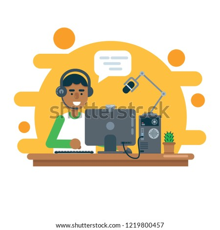 Man gamer records video using microphone and web camera or streams game process. Flat style vector illustration.
