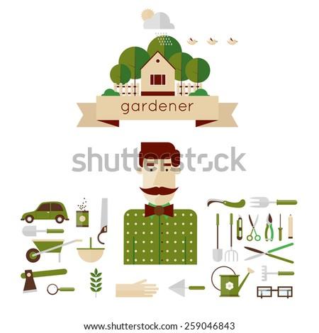 Man gardener and garden tools. Environmental activities. Gardening icons set. The gardener\'s house. Home and garden. Modern flat style. Vector illustrations.