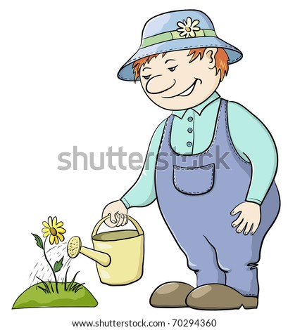 Man gardener waters a bed with a flower from a watering can, vector
