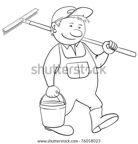 Man gardener with a bucket and a shovel goes to work in a garden, contour