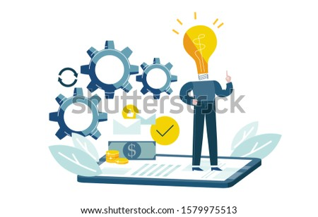 Man generates idea to improve his business. Blue and yellow colored picture. Promotion in internet. Conceptual vector illustration EPS 10 isolated on white