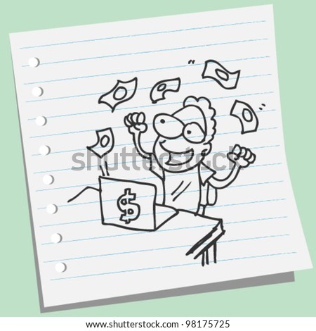 man get money on-line doodle illustration