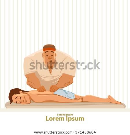 man getting a massage, cartoon characters, spa, relaxation, wellness salon, vector illustration