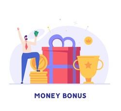 Man getting an award and bonus money. Happy businessman receiving reward and standing near the gift box. Concept of money bonus, reward program, cash back. Vector illustration in flat design.