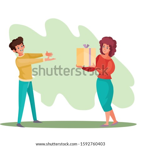 man gives a girl a box with a gift, surprise, joy, holiday, birthday, vector illustration