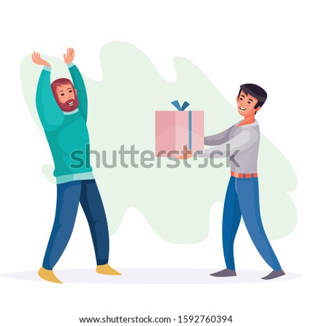 man gives a guy a box with a gift, surprise, joy, holiday, birthday, vector illustration