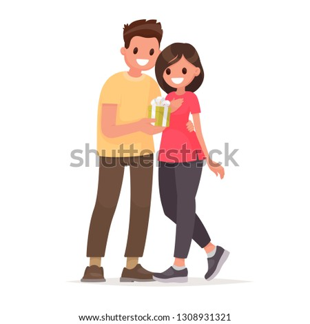 Man gives a woman a gift. Surprise for the holiday. Vector illustration in flat style
