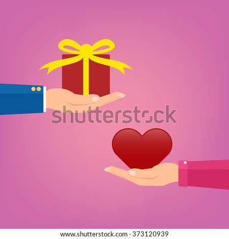man giving a red gift box to