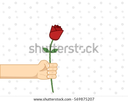 Man giving beautiful single red rose refer to his one true love from one true heart. Vector of man's hand and red rose created with outline for further use.