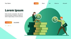 Man giving money to woman. Salary, family budget, banker flat vector illustration. Investment, saving, finance management concept for banner, website design or landing web page