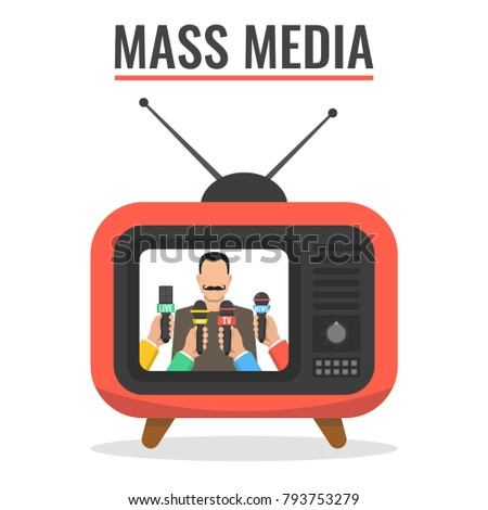 Man giving press conference on TV. Hands hold microphones. Mass media interview concept. Vector illustration.
