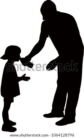 man giving water to boy, silhouette vector