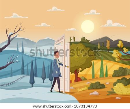 man goes throught open door