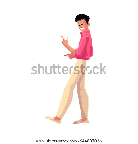 Man, guy in 1980s style clothes winking, dancing disco, cartoon vector illustration isolated on white background. Full length portrait of man in 80s style clothing dancing at retro disco party