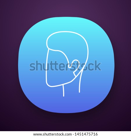Man hairstyle app icon. Hair care. Man head with short stylish haircut. Professional hairstyling. Hairdresser services. UI/UX user interface. Web or mobile application. Vector isolated illustration