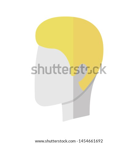 Man hairstyle flat design long shadow color icon. Hair care. Man head with short stylish haircut. Professional hairstyling. Hairdresser services. Hairdressing salon. Vector silhouette illustration