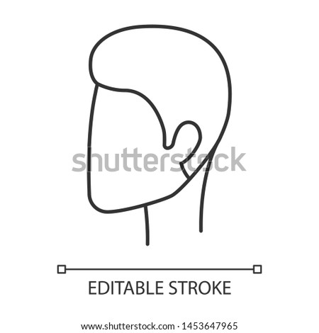 Man hairstyle linear icon. Hair care. Man head with short stylish haircut. Hairstyling. Hairdresser services. Thin line illustration. Contour symbol. Vector isolated outline drawing. Editable stroke