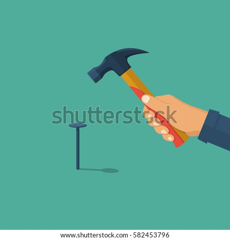 Man hammers in the nail. Holding in hand hammer. Construction and repair. Human repairman with working tools. Vector illustration flat design. Isolated on background.