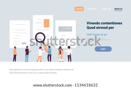 man hand hold magnifying zoom cv resume team choosing people candidate for vacancy job position recruitment concept flat copy space horizontal vector illustration
