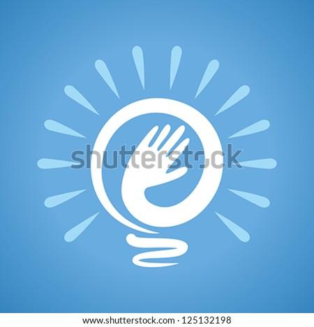 man hand making bulb, idea
