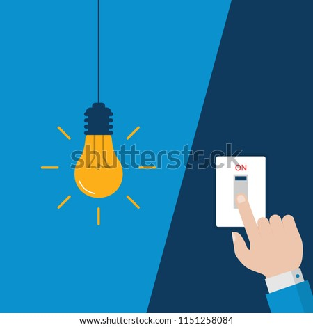 Man Hand Turning On  Flat Light Bulb with Light Switches on Blue Background. Vector Illustration