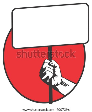 man hand with blank banner. vector
