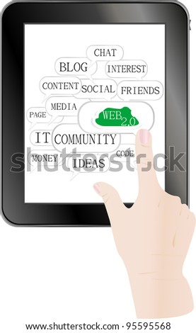 Man hands are pointing on touch screen device. 3d vector