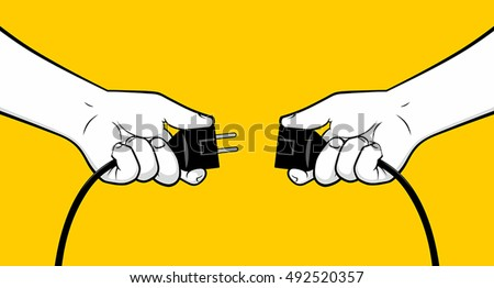 man hands connecting electrical