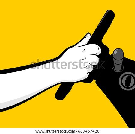 Man hands holding steering wheel