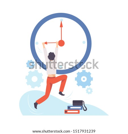 Man hangs on the arrow of a huge clock. Vector illustration.
