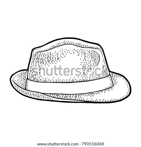 man hat with ribbon. vector...