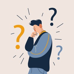 Man have a question. Flat cartoon vector illustration in modern concept.