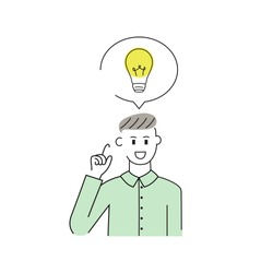 Man have good idea isolated on white background. Ideas man for web site, wallpaper,poster,placard,backdrop and ads. Useful for cover,banner and print materials.Creative art concept,vector illustration