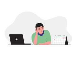 Man having boring weekdays, waiting for weekend at the office desk with laptop and calendar. Vector illustration cartoon flat style