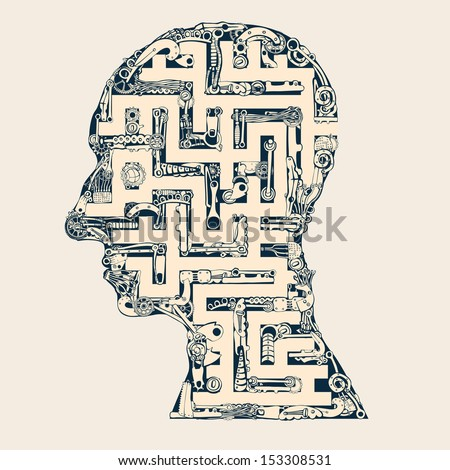Man head labyrinth.