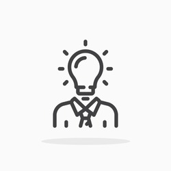 Man head light bulb icon in line style. For your design, logo. Vector illustration. Editable Stroke.