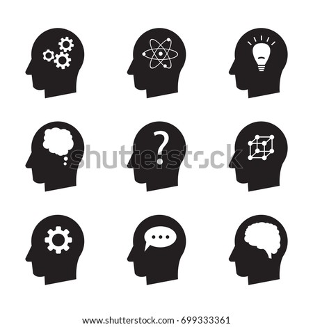 Man head mind thinking vector icon set