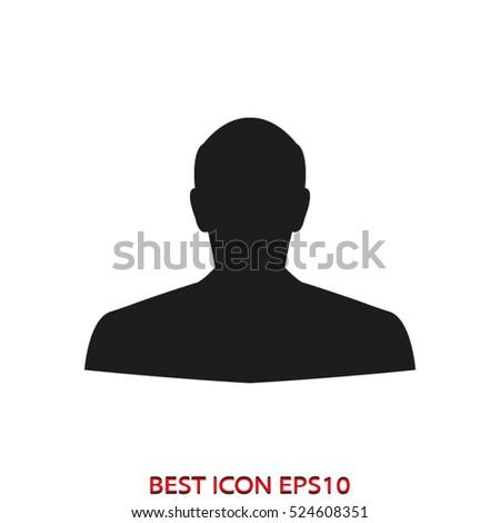 man, head, silhouette, vector icon, eps10