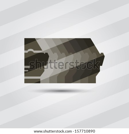 Man head silhouette with face. Corporate icon. Vector.