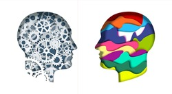 Man head silhouettes with gears, cogwheels and abstract vibrant shapes, vector illustration in paper art style. Thinking brain. Creative and logical mind. Brainstorm, brain power, creativity.