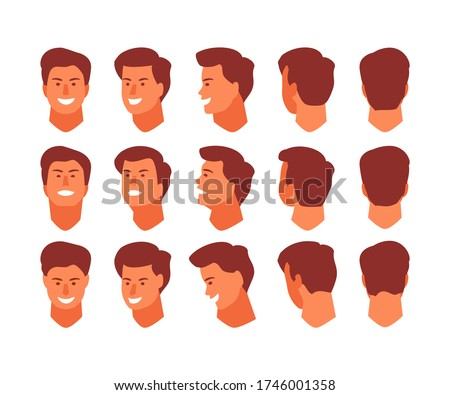 Man head view from different angles. Face front, side, top, bottom, back. Animation and rotation vector template