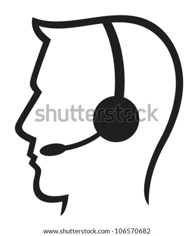 man headset symbol (call center icon, support phone operator)