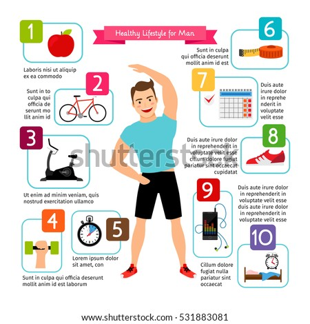 Man healthy lifestyle infographics. Diet food, sports heart, positive living is healthy man vector illustration.
