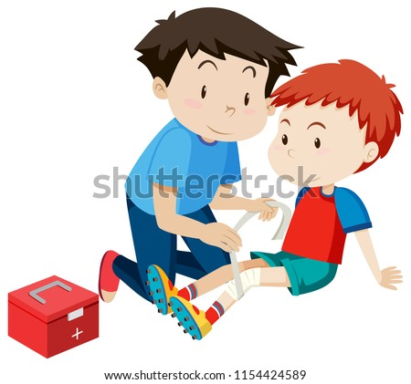 man helping a boy with a injury