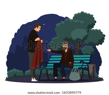 Man helping poor homeless man in park. Poverty and charity vector illustration. Guy giving coat to beggar in poverty. Social inequality in society. Volunteer worker donating clothes. Stock photo ©