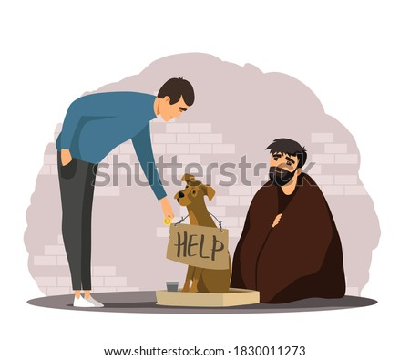 Man helping poor homeless person with dog. Poverty and charity vector illustration. Guy giving money to beggar in poverty. Social inequality in society. Person donating to jobless man in need. Foto stock ©