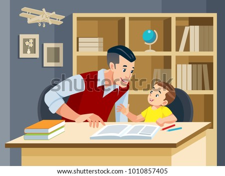 Man helping young boy doing homework and smiling. Concept of friendly family. Vector illustration